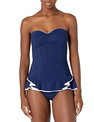 Profile by Gottex Women's Peplum Bandeau Swimdress One Piece Swimsuit, Belle Curve Navy, 14