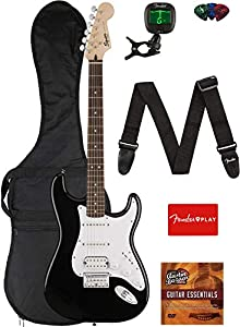Fender Squier Bullet Stratocaster HSS Hard Tail Guitar - Laurel Fingerboard, Black Bundle with Gig Bag, Tuner, Strap, Picks, and Austin Bazaar Instructional DVD