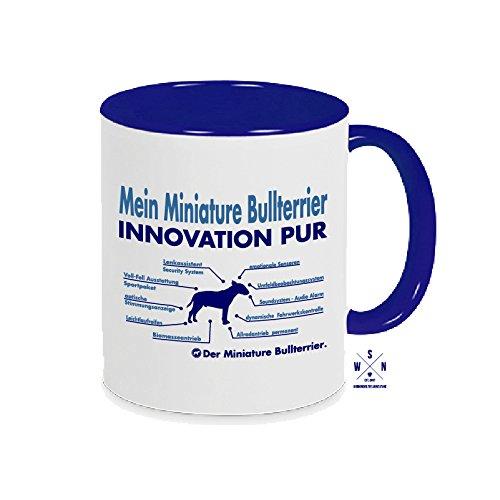 Siviwonder Tasse Kaffeebecher Miniature Bullterrier Innovation Teileliste Hund Hunde Fun blau