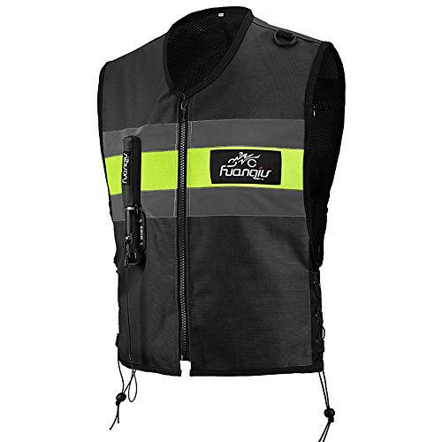 LXHkk Chaleco De Airbag De Motocicleta, Equipo De Seguridad De Carreras De Locomotoras De Motocicleta, Reflector De Área Grande, Sistema De Disparo De Airbag De Dióxido De Carbono,Negro,L