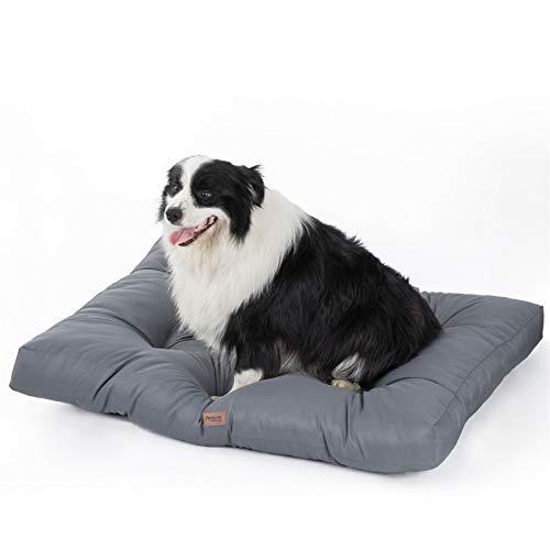 Bedsure Camas para Perros Impermeable XL - Colchón Perro Lavable y Suave, 110x89x10 cm, Gris