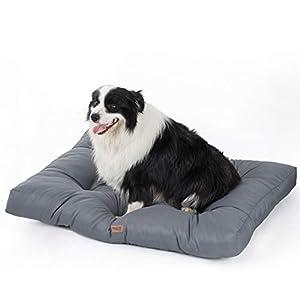 Bedsure Camas Perros Impermeables Grandes - Colchón Perro para Verano Lavable y Suave, L 91x68x10 cm, Gris