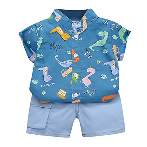 2021 Camisa de caballero con diseño de dinosaurios y pantalones cortos de mezclilla