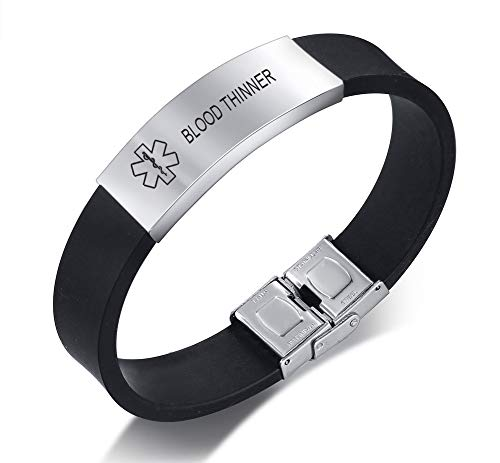 XUANPAI Edelstahl Personalized Medical Alert Silikon-Armband-Notfall-Armband für Männer Graviert mit Blood THINNER