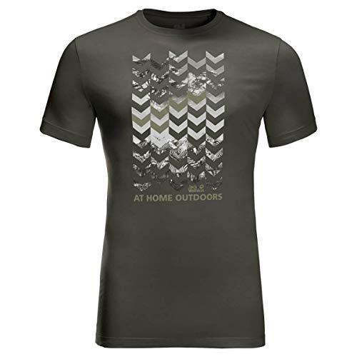 Jack Wolfskin Herren Chevron T-Shirt, Dark Moss, L