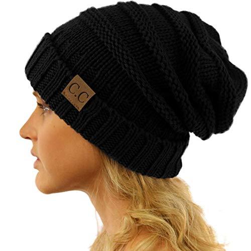 Winter Trendy Warm Oversized Chunky Baggy Stretchy Slouchy Skully Beanie Hat Black