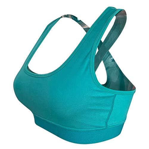 Padded Strappy Sports Bra Yoga Tops Wirefree Activewear Workout Clothes for Women Green