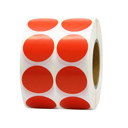 """1"""" Round Target Pasters - blank Target Pasters For Shooting 1000 Adhesive Target Stickers, Fluorescent Orange red- Permanent Adhesive"""