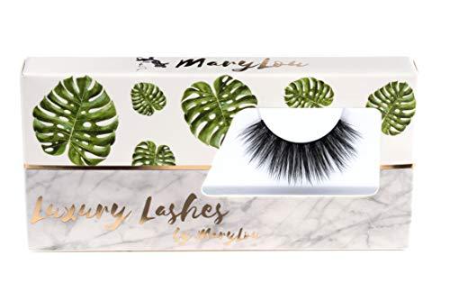 MaryLou Beauty Luxury Lashes - künstliche Wimpern für einen natürlichen voluminösen 3D Look - künstliche Premium Wimpern in schwarz inklusive edler Aufbewahrung (Extra Glam)