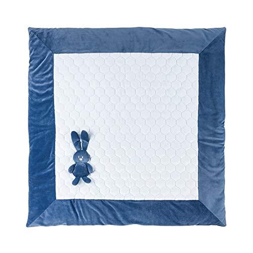 Nattou Tapis d'Éveil pour Lit d'Enfant, Lapin Lapidou, 100 x 100 cm, Bleu