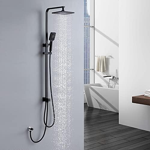 Lonheo Duschsystem Schwarz ohne Armatur mit Verstellbarer Duschstange Überkopfbrause und 3 Funktionen Handbrause