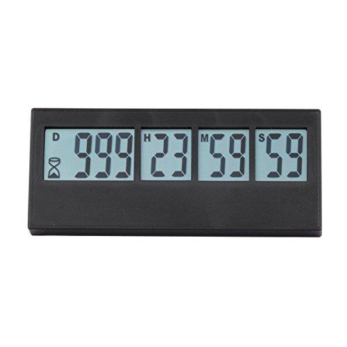 Aimilar Digitaler Countdown-Tage-Timer, 999 Tage Countdown-tTmer für Labor, Küche, Ruhestand, Hochzeit, als Kinder-Geschenk Schwarz