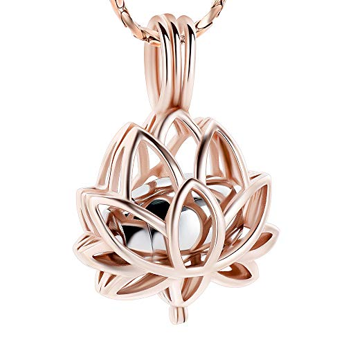 Imrsanl Cremation Jewelry for Ashes - Lotus Flower Ashes Pendant Necklace with Mini Keepsake Urn Memorial Ash Jewelry Rose Gold-Silver