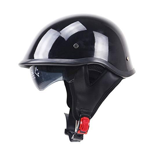 Moto Visage Ouvert Demi Casque, Crash Casque Jet-Casque Dot certifié Vintage Harley Casque Saisons Unisexe-Noir (M, L, XL, XXL),XXL(63~64cm)
