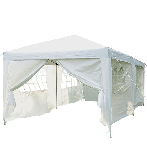 Outsunny 3 x 6m Garden Heavy Duty Pop Up Gazebo Marquee Party Tent Wedding Water Resistant Awning Canopy (Black) With free Storage Bag White