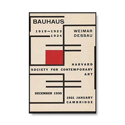 Bauhaus Abstract Art Print Modern Minimalism 1923 Weimar Exhibition Poster Picture Frameless Canvas Painting A6 30x40cm
