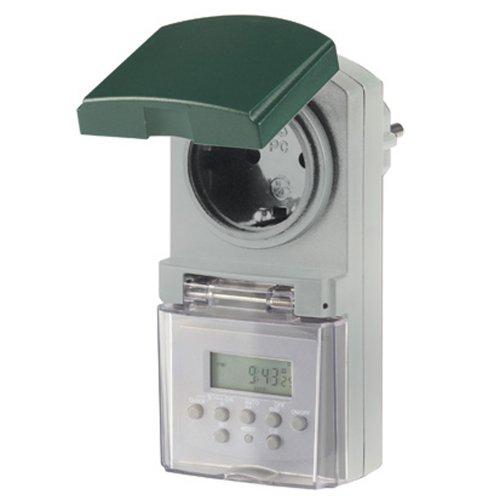 Rev Outdoor timer digitale tijdschakelaar, dagtijdschakelklok met countdown- en toevalsfunctie, voor gebruik buitenshuis, IP44 met kinderbeveiliging, kleur: grijs-groen