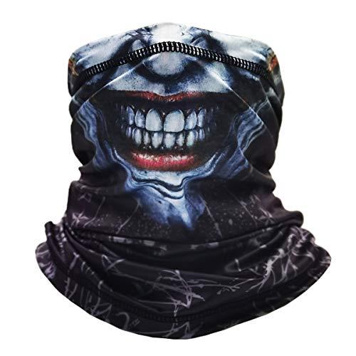 Neck Gaiter Face Mask Reusable, Cloth Face Masks Washable Bandana Face Mask, Sun Dust Protection Cover Balaclava Scarf Shield Cycling (Smiley Gray)