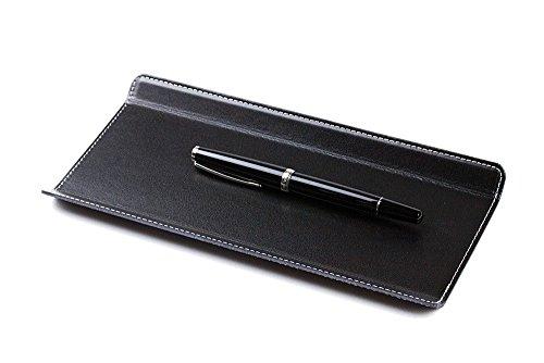DELMON VARONE - Federschale aus Cambridge Top Grain Leder schwarz, Echtleder Stiftablage für Kugelschreiber und Füller, Elegante Stifteschale mit schwerer Metalleinlage für Schreibtisch und Büro