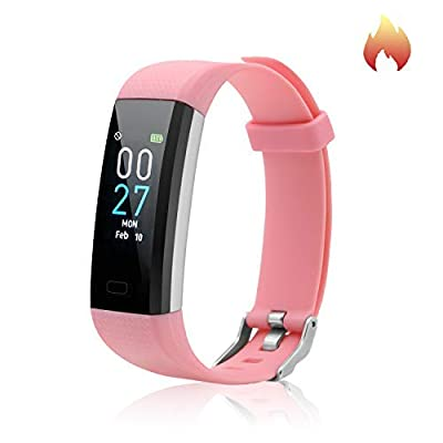 Fitness Tracker with Blood Pressure Heart Rate Sleep Monitor Temperature Monitor, Activity Tracker Smart Watch Pedometer Step Counter for iPhone & Android Phones for Kids Man Women (Pink)