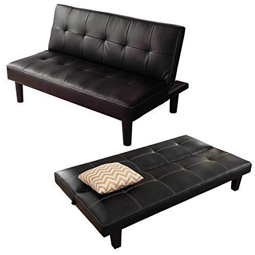 FACAZ Sofá Cama Acolchado de Tela, sofá Cama Convertible, Estructura de Madera Dura Duradera de 3 plazas, sofá Convertible de 3 Posiciones inclinadas, Negro