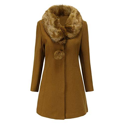 Women's Faux Fur Collar Long Pea Coat Warm Winter Long Sleeve Vintage Button Trench Wool Blend Coats Outwear Brown