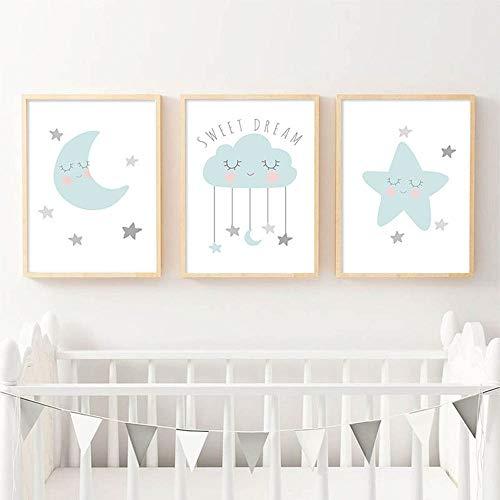 Nordic Ideas Laminas Cuadros Azul Luna Nube Estrella Citas Ilustraciones A3 Póster 30x40 Infantiles Bebe Niño Niña Habitación Decoración Impresión en Lienzo Regalo Sin Marco