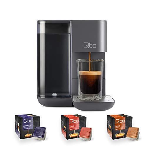 Tchibo Qbo Touch Kaffee Kapselmaschine für Espresso, Caffè und Caffè Grande inkl. 24 Qbo-Kapseln – Amazon Alexa kompatibel, kompaktes Design, 1,3l Wassertank, Basalt Grey (Grau)
