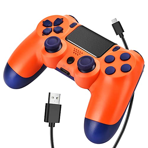Wiv77 Wireless Controller Compatible with PS4, Remote Works with Playstation 4, Gamepad and Joystick Compatible with DS4 for Kids,Built-in 1000mAh,Orange, 2021, New