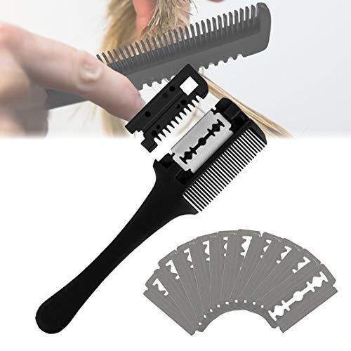 Haarschneider Kamm, Effilierer Effiliermesser mit 10 Ersatzklingen, Double Side Hair Schneiden Trimmer Kammzum Ausdünnen und Schneiden von Haaren(schwarz)