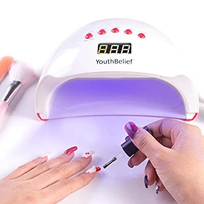 Memory Timer UV Nail Lamp LED Nail Dryer 5 Timer Settings with Magnifier & Headlamp Curing Lamps 48W for Gel Polish Auto Sensor for Toenail Polish Art Professional at Home Salon