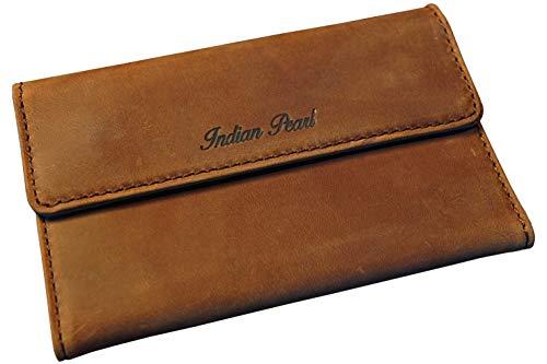 Indian Pearl Tabaktasche I Tabak-Beutel Leder I Dreher-Tasche mit Magnetverschluss I Filterfach I Double-Paper-Fach I Braun