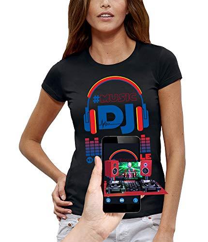 Pixel T-Shirt 3D DJ Style Headphones in Augmented Reality Evolution - Women - Size XXL - Black