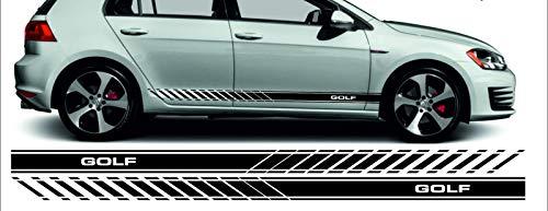 SUPERSTICKI Golf GTI Seitenstreifen Racing Stripes Rallyestreifen Sport beidseitig 3&5 Türer Aufkleber Autoaufkleber Tuningaufkleber Hochleistungsfolie für alle glatten Flächen UV und Wasc