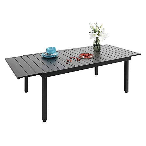 PHI VILLA Expandable Outoodr Dining Table, Adjustable Metal Patio Garden Table for 6-8 Person Home Kitchen Dining Party Use, Black, 2020