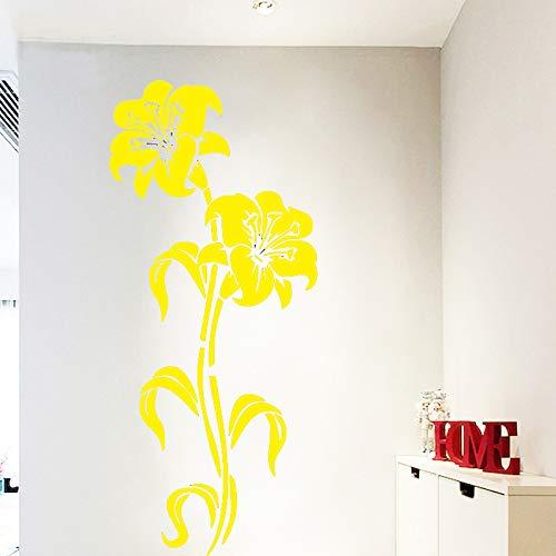 yiyiyaya Flor artística Decoración para el hogar Vinilo Pegatinas de Pared Habitación de la habitación del Cuarto de niños Decoración Etiqueta Decoración para el hogar Amarillo 43 cm X 98 cm