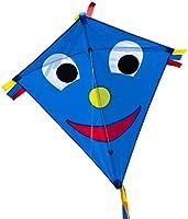 CIM Barndrake – Happy Eddy Blue – Einleiner-flygdrake för barn från 3 år – 65 x 74 cm – inklusive långa dragsnören och...