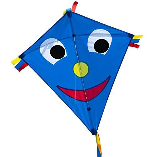 CIM Kinder-Drachen - Happy Eddy Blue - Einleiner-Flugdrachen für Kinder ab 3 Jahren - 65x74cm - inkl. Langer Drachenschnur und DREI Bandschwänzen