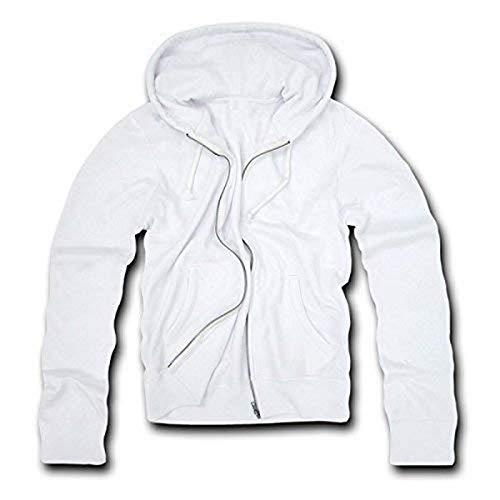 Decky Sweat à Capuche zippé Basique en Polaire pour Homme Blanc Taille XL