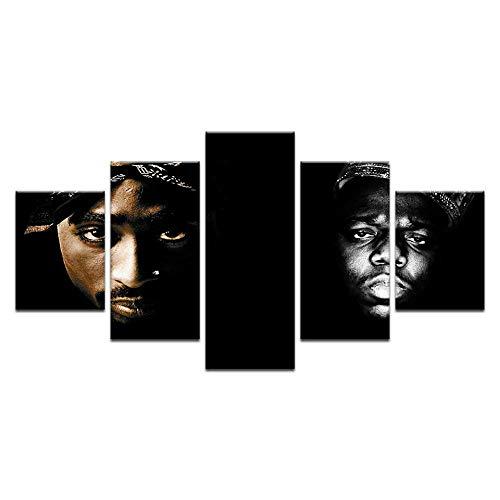 Fbhfbh Die Notorious BIG Tupac 2Pac Amerikanischen Rapper Music Star Hot Kunstdruck Poster 5 Panel Leinwand Malerei Wand Wohnkultur-12x16/24/32inch,Without frame