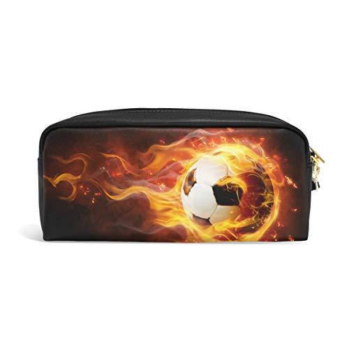 Bolsa para lápices de fútbol para adolescentes con cremallera, para escribir en el colegio, con compartimentos