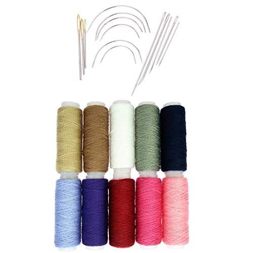 Inzopo - Juego de 24 agujas de coser a mano curvas, kit de reparación de tapicería, hilos de algodón resistente para reparación de tiendas de campaña de cuero