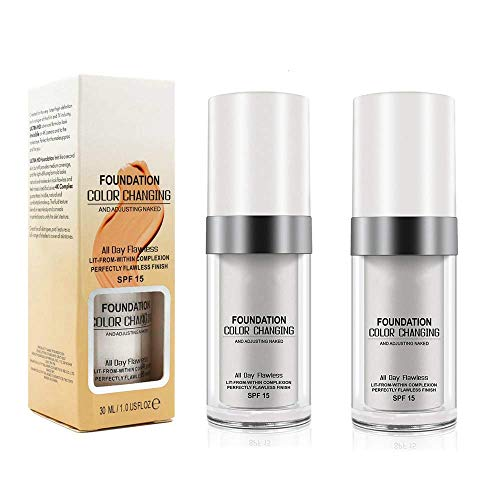 TLM Concealer-Abdeckung, (2pcs) Makelloses Make-up für die farbwechselnde Grundierung, hautfarbene Grundierung, feuchtigkeitsspendende Basis-Concealer für Frauen und Mädchen