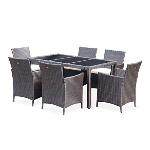 Alice\'s Garden - Tavola: 150cm garden table in rattan with 6 chairs, brown