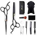 Hair Cutting Scissors Set- 12Pcs Home Salon Barber Kit by Aszwor Professional Hairdressing Scissors Kit(660C) Professional Barber/Salon/Home Shears Kit, Perfect for Men Women and Pet