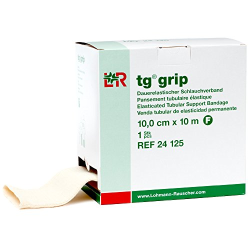 Lohmann & Rauscher Tg Grip, Size F, 10cm x 10m, Elasticated Tubular Compression Bandage for Light & Comfortable Support, Sleeve for Sprains, Strains, Soft Tissue Injuries, Skin Friendly Stockinette