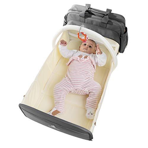 cherbaby Borsa Mamma Con Fasciatoio Impermeabile Zaino Multifunzone Per Cambio Bambino Neonato Lettino Da Viaggio Ganci Passeggino e Tracolla (Grigio)