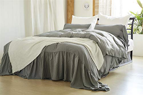 Moowoo Vintage Farmhouse Bedding, 3 Pieces Ruffle Duvet Cover Set  Washed Microfiber Romantic Mermaid Tail French Country Style Duvet Cover with Ties (Grey, Queen)