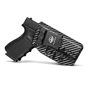Glock 19 Holster Carbon Fiber Kydex Holster IWB for Glock 19 19X Glock 23 Glock 25 Glock 32 Glock 45  Gen 3 4 5  Pistol Case - Inside Waistband Carry Concealed Holster Glock 19 IWB  Black Right