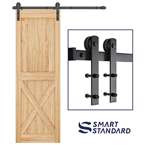 "SMARTSTANDARD 5ft Heavy Duty Sturdy Sliding Barn Door Hardware Kit -Smoothly and Quietly -Easy to Install -Includes Step-by-Step Installation Instruction Fit 30"" Wide Door Panel (I Shape Hanger)"